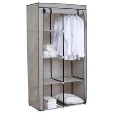 Home Basics Sunbeam Storage Closet with Shelving at Lowe's. Store and organize your nice clothes in this free-standing closet. Made from heavy duty non-woven material. 6 Levels of shelves and a hanging rod.