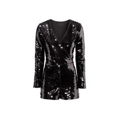 H&M Sequined playsuit (61 CAD) ❤ liked on Polyvore featuring jumpsuits, rompers, long sleeve short rompers, long sleeve sequin romper, black romper, short rompers and h&m romper