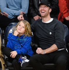 Chris Martin took left his busy schedule behind on Tuesday evening to enjoy some quality time with his son Moses  Heading to the game to cheer on the Lakers against the Golden State ...