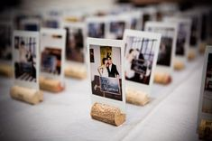 If you're looking for a place card idea that is really fun and that your guests will enjoy (and can even take with them as a memento), the Polaroid or Photo place card (or escort card table) is a winner. It takes a bit of work – you've to find a pic of all your guests AND print them – but their reaction when they get to their table and see a photo of themselves waiting at their seat is sure to be amazing.