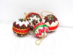 Vintage Quilted Christmas Ornaments Quilted by PaperWoodVintage, $21.00