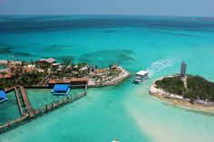 Blue Lagoon Bahamas (yes, that Blue Lagoon)... where I got to swim with dolphins!