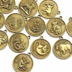 Chinese zodiac 12 animals | 12Pcs Alloy Metal Chinese Zodiac 12 Animals Tibet Buddhist Kwan-Yin ...