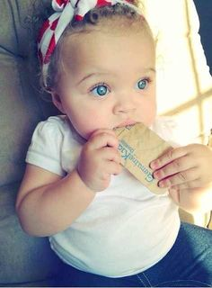 Beautiful baby girl with blue eyes