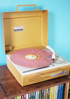 vintage yellow record player