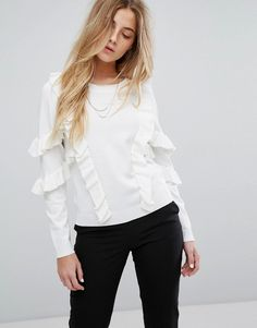 Suncoo Sweater With Frill - White