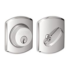 Schlage B60N-GRW Single Cylinder Grade 1 Deadbolt with Decorative Greenwich Rose Polished Chrome Deadbolt Keyed Entry Single Cylinder