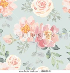 Pale pink roses and peonies with gray leaves on the gray background. Vector seamless pattern. Romantic garden flowers illustration. Faded colors.