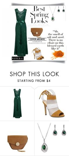 """green dress !"" by mery-2601 ❤ liked on Polyvore featuring H&M, GREEN, dress, sandals, bag and rosegal"
