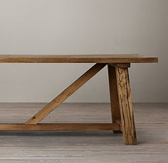 RH's Reclaimed Russian Oak Trestle Small Rectangular Dining Table:Handcrafted of solid oak timbers reclaimed from decades-old buildings in Russia, our stout and sturdy trestle table bears all the hallmarks of aged wood – nicks, knots, nail marks and other imperfections – that celebrate its provenance and enduring beauty.