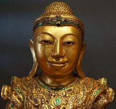 Burmese Royal King Shan Buddha Statue with stone eyes - 19th Century