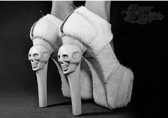 Kermit Tesoro Skull Heels and horse fur Funky Shoes, Crazy Shoes, Me Too Shoes, Weird Shoes, Kermit, Skull Fashion, Fashion Shoes, Weird Fashion, Fashion News