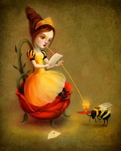 ≗ The Bee's Reverie ≗   Queen Bee Print by etsy's Meluseena