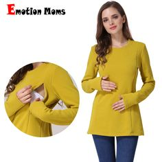 8c021b573ea08 Emotion Moms New Long Sleeve Maternity Clothes COTTON winter Nursing Top  Maternity tops for Pregnant Women
