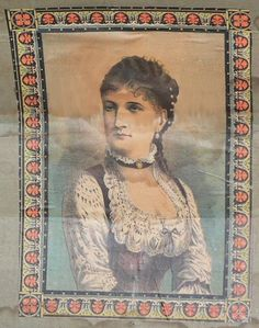 Antique Trunk Artwork, Dark-Haired Lady