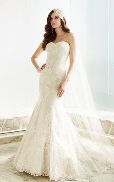 A gorgeous fit and flare designer wedding dress.