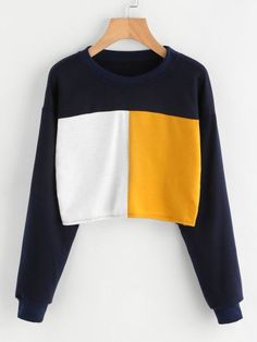 ROMWE Color Block Cropped Sweatshirt Women Long Sleeve Patchwork Autumn Sweatshirt 2017 Spring Pullover Casual O Neck Sweatshirt Sports Sweatshirts, Hoodie Sweatshirts, Sports Shirts, Crop Shirt, Sweat Shirt, Crop Top Outfits, Cute Outfits, Bauchfreier Pullover, Long Sleeve Tops