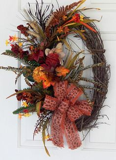Grapevine Wreath Ideas Fall Feather Oval Grapevine Wreath With By Pataylafloraldesigns, 72 . Owl Wreaths, Autumn Wreaths, Holiday Wreaths, Halloween Wreaths, Burlap Wreaths, Thanksgiving Mesh Wreath, Diy Fall Wreath, Wreath Ideas, Grapevine Wreath