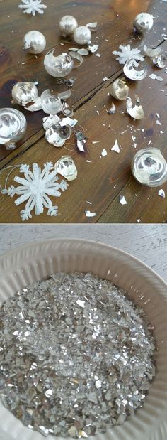 Turn those broken ornaments into glitter. 41 Ways To Reuse Your Broken Things Broken Mirror Diy, Diy Mirror, Broken Mirror Projects, Mirror Ideas, Vanity Ideas, Recycled Crafts, Diy And Crafts, Arts And Crafts, Recycled Materials
