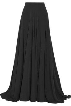 Elie Saab Silk-crepe maxi skirt. The elegant drape means that the two high thigh splits are only visible as you walk. | NET-A-PORTER