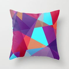 Purple turquoise red jewel tone geometric design pillow cover, Decorative Throw Pillow Cover
