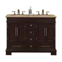 Silkroad Exclusive Ashley Dark Walnut Undermount Double Sink Bathroom Vanity With Travertine Top Common