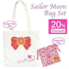 [SALE] Sailor Moon Tote Bag and Drawstring Bag Set (4 Items)