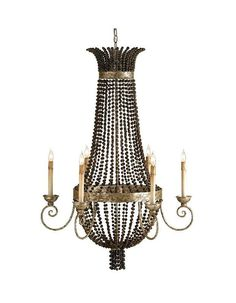 Currey and Company 9686 6 Lights Chandelier Distressed Silver Leaf Indoor Lighting Chandeliers
