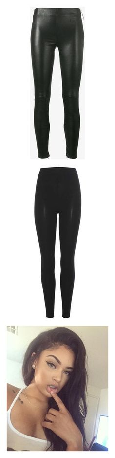 """""""Pretty"""" by fashion-rocks ❤ liked on Polyvore featuring pants, leggings, leather, leather legging pants, side zip ankle pants, ankle zip pants, real leather leggings, leather trousers, bottoms and jeans"""