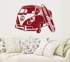 Old Bus with Surfboard Surfbus Wall Tattoo Decor by Anchovisdesign, $40.00