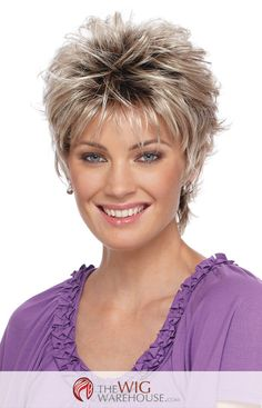 The spunky Christa by Estetica Designs features a short layered cut, with plenty of soft wispy curls to add volume and charm. The tapered nape of the wig accentuates your neck, while the volume enhanc