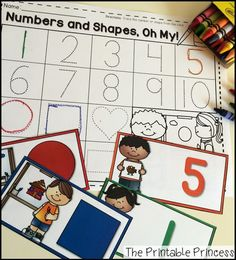 Trace the number/shape to match the color on the card. Easy peasy math centers for beginning of Kinder.