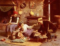 EUGENIO ZAMPIGHI Em 1884 estabeleceu-se em Florença e começou sua carreira pintura. Zampighi atirou-se para a criação de retratos, representando cenas da Itália vida familiar normal. Estas obras mostram pessoas alegres e ativas, com sua cor de marca.Seus retratos, todos, ele transformou em telas.