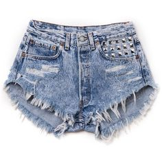 RWDZ Alexx Studded Shorts ($91) ❤ liked on Polyvore featuring shorts, bottoms, short, pants, studded shorts, jean shorts, short jean shorts, denim shorts and short shorts