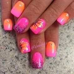 Image via Geometric Orange Nails Image via Image via Real Orange Tree Nail Art Designs Image via Tigger Inspired Nails Image Neon Nails, Pink Nails, Pink Summer Nails, Acrylic Summer Nails Beach, Gel Ombre Nails, Summer Toenails, Fancy Nails, Cute Nails, Pretty Nails