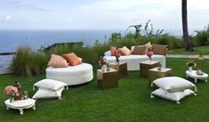 Our furniture set up at the fantastic Khayangan Estate, #Bali  Our round ottoman, teak daybed & brass tables with styling from #Bloomz #RevelRevelBali #furniture #rental