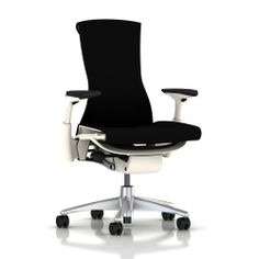 """Embody Chair by Herman Miller - Fully Adjustable Arms - White Frame and Titanium Base - Standard Carpet Casters - Black Rhythm by Herman Miller. $1239.00. Mimics the spine. The back is """"alive,"""" adapting to the shape and movement of your spine; it automatically adjusts to your shifting positions and supports you through the full range of working postures.. New tilt technology. Embody's rotation points are within the seat and back, and the base of the back remains fixe..."""
