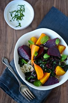 - For more information visit: http://www.scalingbackblog.com/savory-bites/day-14-beet-quinoa-and-tahini-bowl/