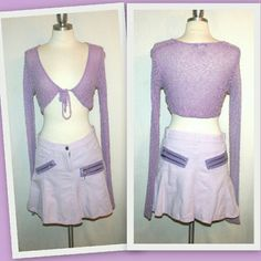 """See by Chloe Paris lavender cotton/linen mini See by Chloe Paris fun lavender casual skirt. The short skirt has silver metal zipper detail on the front and back. Front pockets. Fly front closure with a See by Chloe logoed metal button at the waist. Gored panels create a flared shape. Belt loops at the waist.  50% cotton 50% linen  dry clean or wash separately inside out. Made in Italy  Mark size US 6 Italian 40 French 36  waist 29"""" hips 38""""  length 14 3/4"""" See by Chloe Dresses"""
