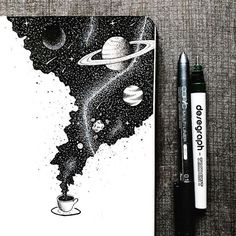 An entire universe of flavor inside a cup of coffee ☕️. An entire universe of flavor inside a cup of coffee ☕️. Space Drawings, Ink Pen Drawings, Art Drawings Sketches, Ink Pen Art, Simple Art Drawings, Black Pen Sketches, Space Artwork, Beautiful Drawings, Tattoo Sketches