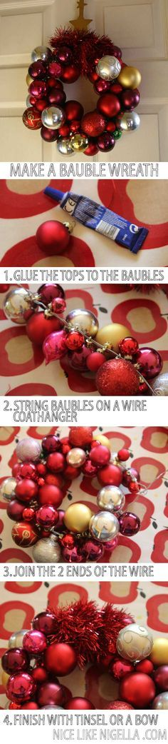 How to Make a Bauble Wreath decoration I buy far too many Christmas decorations. I simply can't resist adding something extra to out tree each year, so I've gradually been accumulating plain baubles which I just can't … Retro Christmas, Christmas Baubles, Simple Christmas, Christmas Crafts, Christmas Ideas, Bauble Wreath, Ornament Wreath, Ornaments, Deco Wreaths