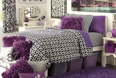 Black and purple college dorm room inspiration, spruce up for spring!