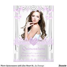 Photo Quinceanera 15th Lilac Heart Silk Lace 5x7 Paper Invitation Card