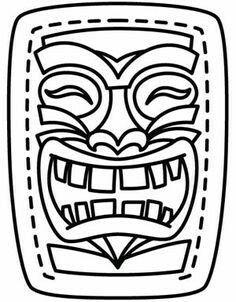 (Hawaiian) Tiki Mask Template Printable Sketch Coloring Page Luau Theme Party, Aloha Party, Hawaiian Luau Party, Hawaiian Birthday, Hawaiian Theme, Luau Birthday, Tiki Party, Tropical Party, Birthday Parties