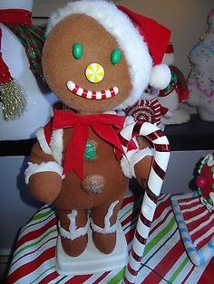 """TELCO+GINGERBREAD+BOY+24""""+RARE+ANIMATED+MOTIONETTES+CHRISTMAS+DECORATIONS"""