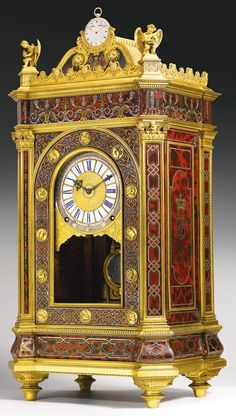 Ormolu-mounted Red Tortoiseshell  Boulle-style Royal Sympathique Quarter Striking Clock  --  1835  --  Via Sotheby's