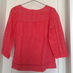 JCREW CORAL BLOUSE adorable jcrew coral colored blouse. Has 3/4 length sleeves and gorgeous cut-outs. Cute for summer!! J. Crew Tops Blouses