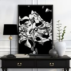 Abstract Art Poster Black And White Wall Art Black And White