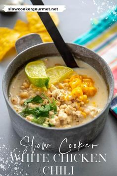Chili in the slow cooker is always delicious, but there's something extra special about Slow Cooker White Chicken Chili! #slowcooker #whitechicken #chili Slow Cooker Soup, Slow Cooker Chicken, Slow Cooker Recipes, Crockpot Recipes, Cooking Recipes, Chili Recipes, Gourmet Recipes, Soup Recipes, Recipe Using Chicken