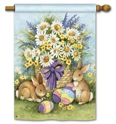 Easter Bunnies Happy Easter Garden Flag Holiday Yard Banner BreezeArt 12 x Easter Garden, Easter Art, Lapin Art, Paper Napkins For Decoupage, Easter Pictures, Bunny Art, Easter Printables, House Flags, Easter Holidays